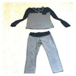 Nike athletic set with cropped tights.